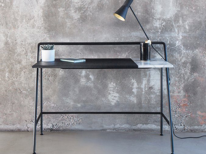Ossau Desk in Arabescato Marble, Leather, & Metal by Studio AC/AL