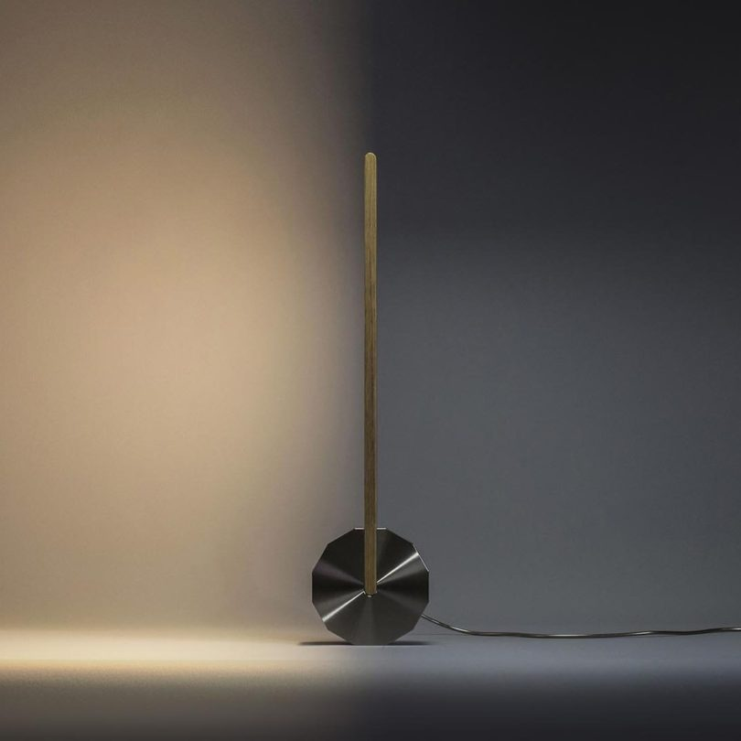 Killay Kinetic Lamp in Stainless Steel and Oak by Singular Design