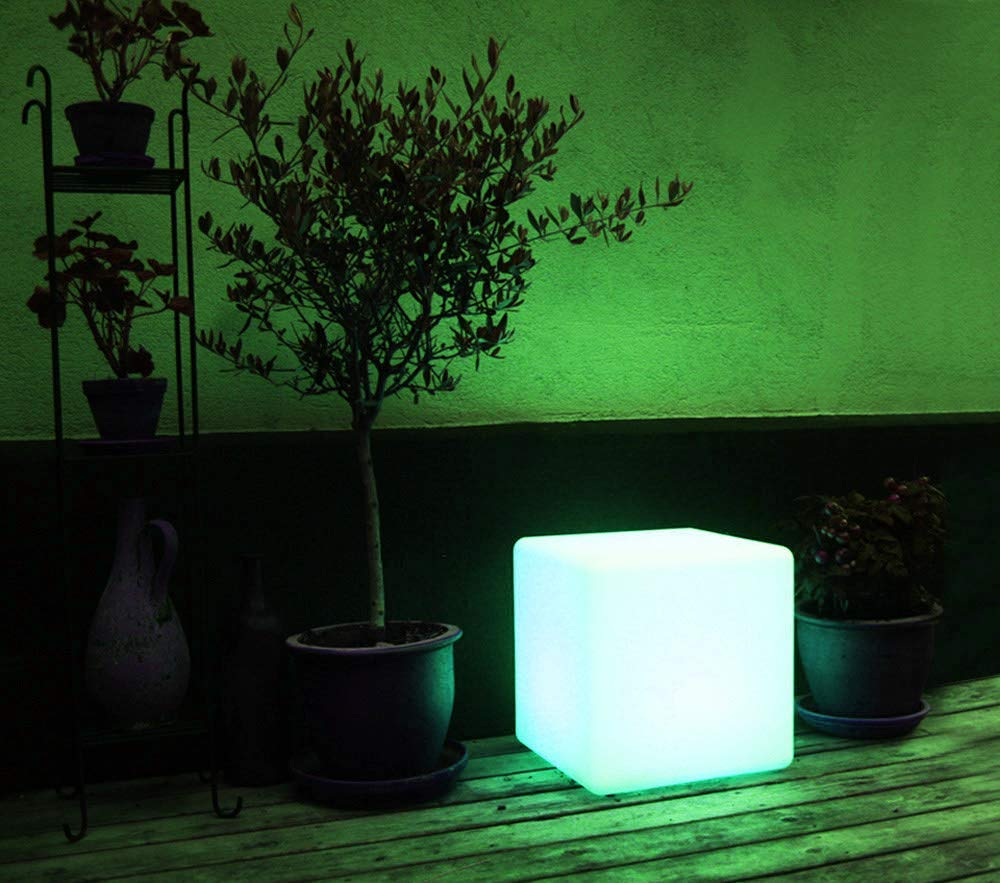 Mr.Go Waterproof Rechargeable LED Color-changing Light Cube 8″