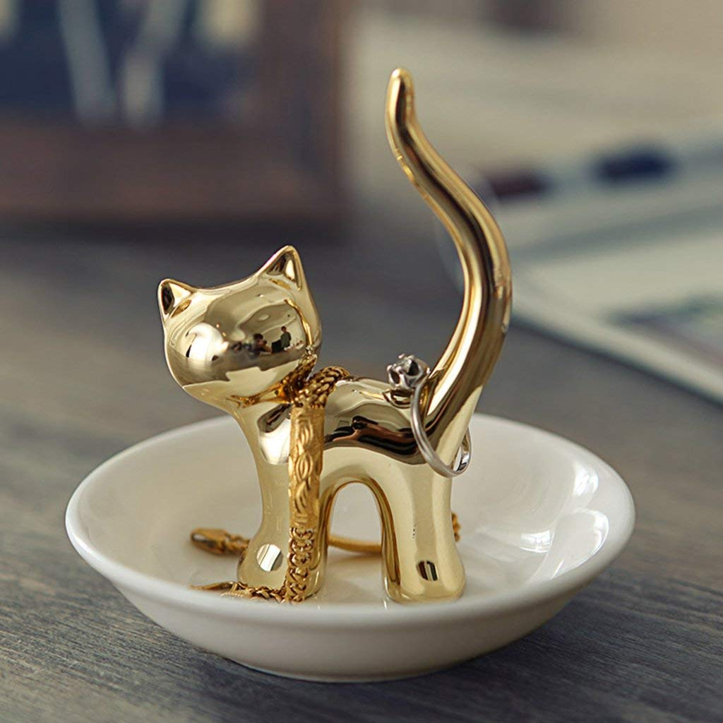 Haked Small Jewelry Towers Rack Rings Holder Bracelets Earrings Trinket Trays Dish (Gold Cat)