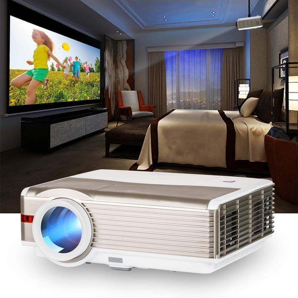 Projector 1080p Full HD 4200 Lumens with 200″ Display Free HDMI