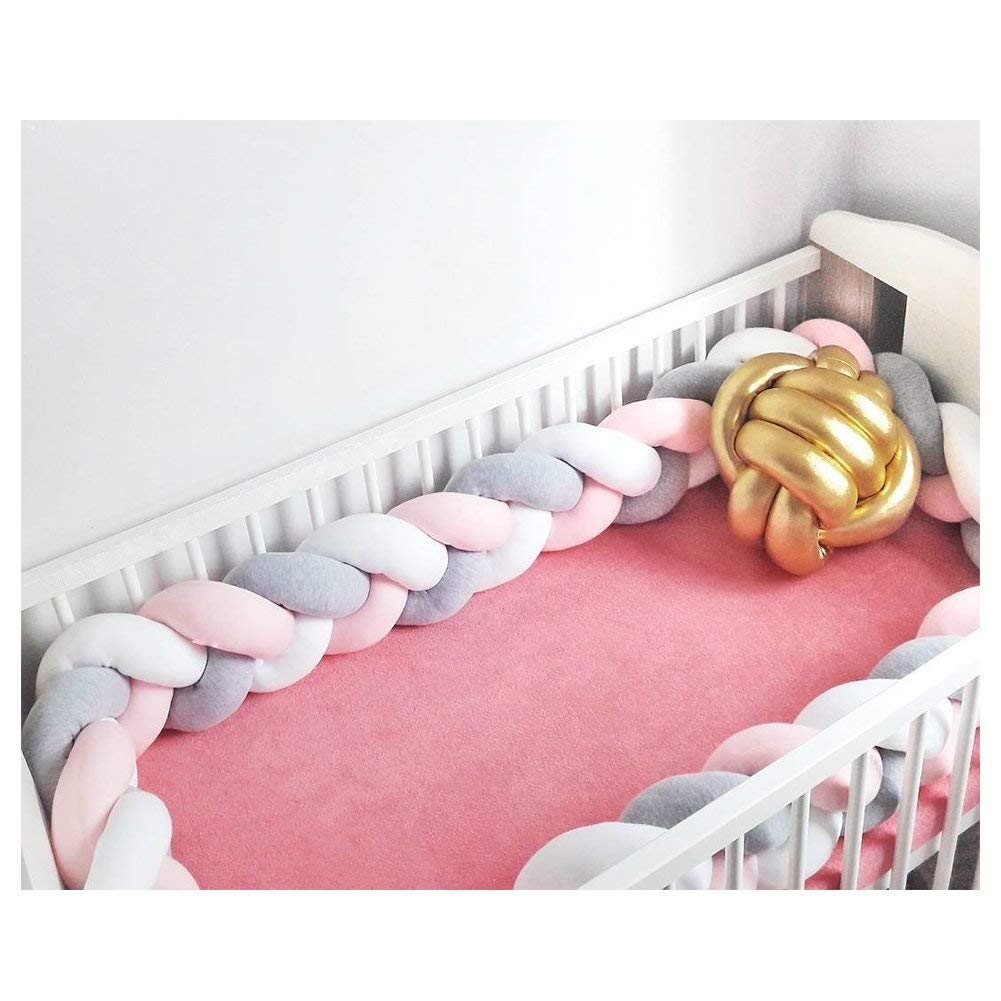 Infant Soft Pad Braided Crib Bumper Knot Pillow Cushion Cradle Decor for Baby Girl and Boy