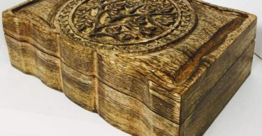 vrinda Wooden Hand carved Tree Life Box 9 inch x 6 inch.
