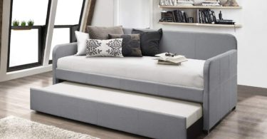 Home Design Tiara Upholstered Daybed With Trundle (Light Grey)