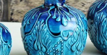 Alhamra Traditional Turkish Ottoman Handmade Ceramic Blue Pomegranates