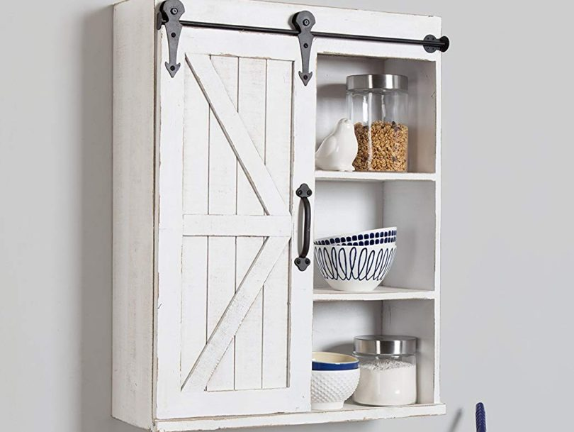 Kate Laurel Cates Wood Wall Storage Cabinet Sliding Barn Door