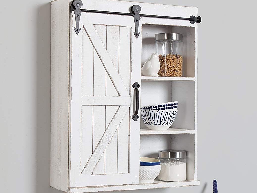 Kate Laurel Cates Wood Wall Storage Cabinet Sliding Barn Door