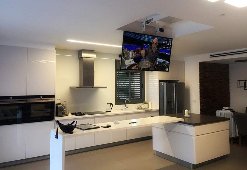 Pro Ceiling Flip Down Motorized wireless TV lift Mount For32-75 inch TV's