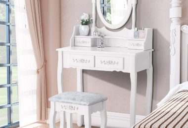 Mecor Vanity Table Set with Oval Mirror