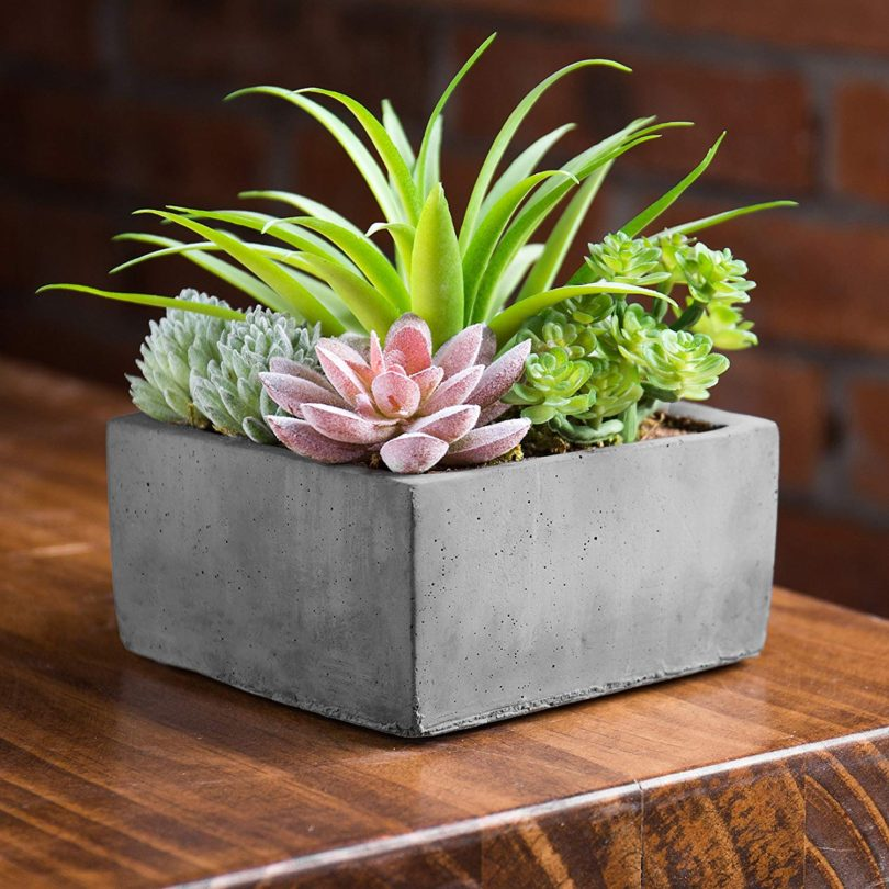 MyGift Faux Potted Assorted Succulents Plants in Grey Planter