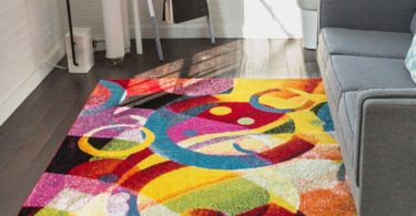 Bubble Bright Multi Circles Yellow Blue Red Abstract Geometric Lines Area Rug