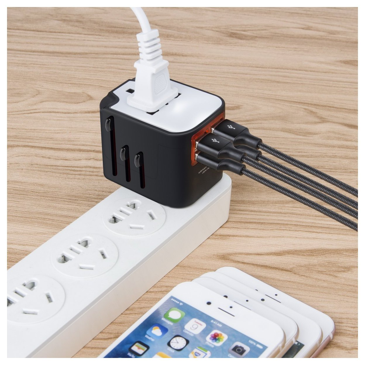 Worldwide Plug Adapter With 4 Port USB Fast Charger