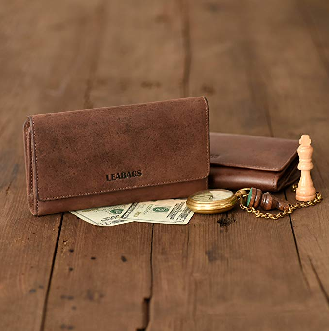 LEABAGS Cleveland genuine buffalo leather women's wallet in vintage style