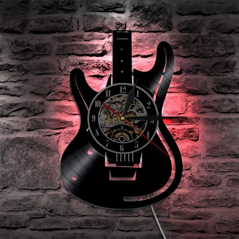 Guitar LED Color Changing Vinyl Wall Clock