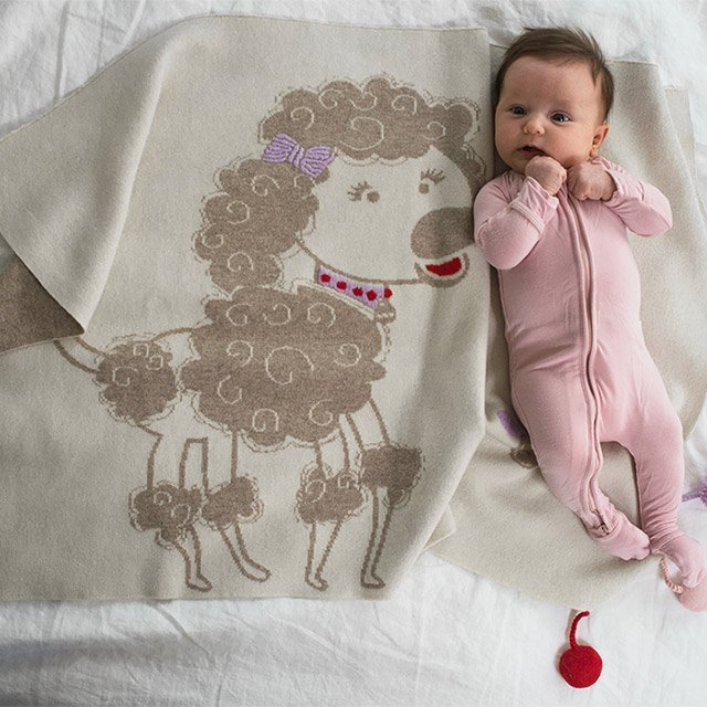 Penelope The Poodle Cashmere Baby Blanket