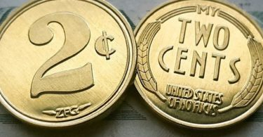 ZFG Inc. Two Cents / My Two Cent Novelty Gag Gift Tradeable Coins, Gold Color, 15-Coins