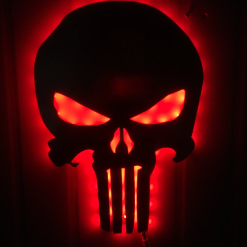 Punisher Mirror Colorful Night Light