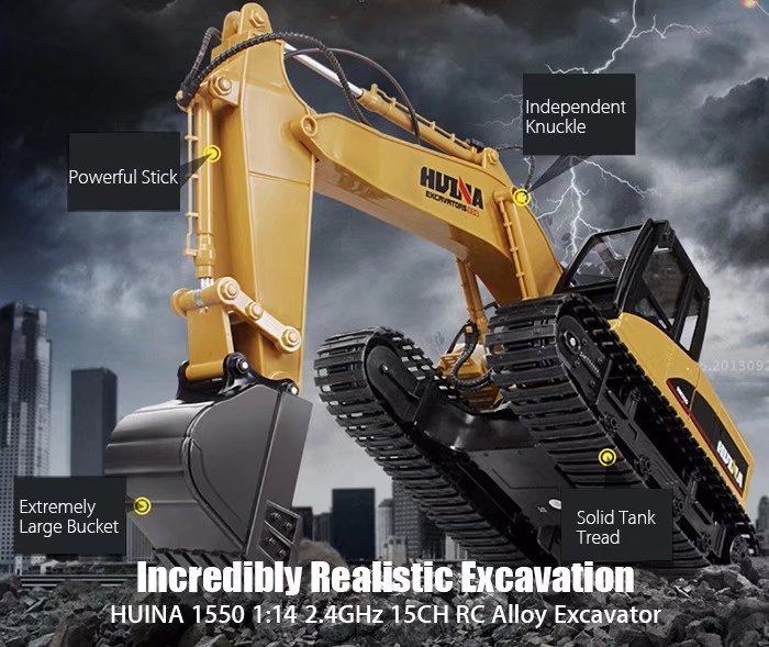RC Alloy Excavator RTR 1:14 2.4GHz 15CH