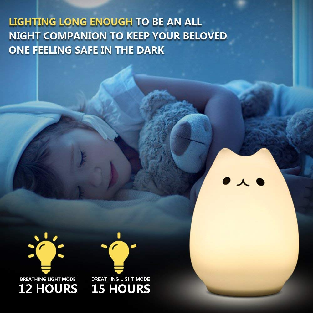 Yimaler Remote Control Night Light for Kids Silicone LED Kitten Light