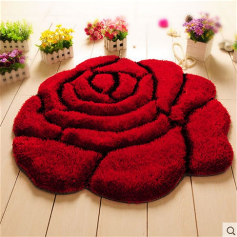 Lotus Karen 3D Rose Shape Carpet Heavy-Duty Ultra Soft Area Rug for Living Room