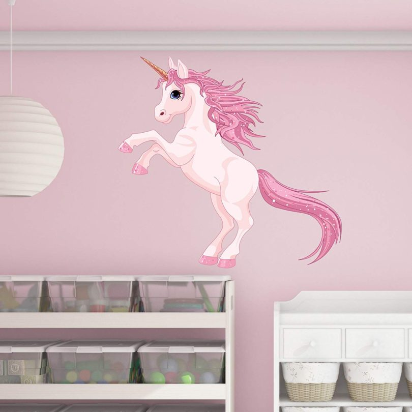 Style & Apply Pretty Pink Unicorn Wall Decal by Wall Sticker