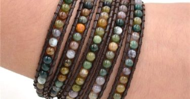 Genuine Leather 5 Wrap Braided Beaded Bracelets