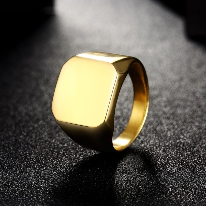 Focus Jewel Unisex 24K Gold Plated Titanium Polish Square Simple