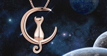 Sweetiee Cat Moon Necklace Sterling Silver Cat and Moon Collar Necklace Lovely Kitten Pendant