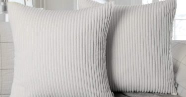 Ashler Set of 2 Soft Plush Velvet Off-White Striped Corduroy Throw Pillow Cushion Cover
