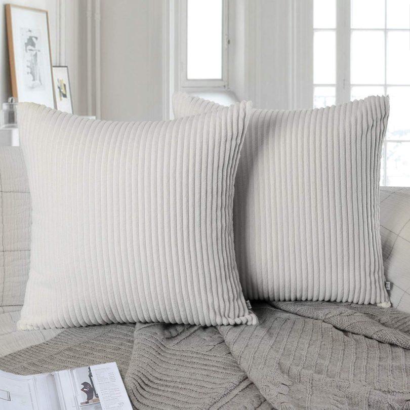 Ashler Set of 2 Soft Plush Velvet Off-White Striped Corduroy Throw Pillow Cushion Cover
