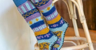 Hand Knit Wool Long Fleece Lined Slipper Socks