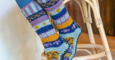 Hand Knit Wool Long Fleece Lined Slipper Socks