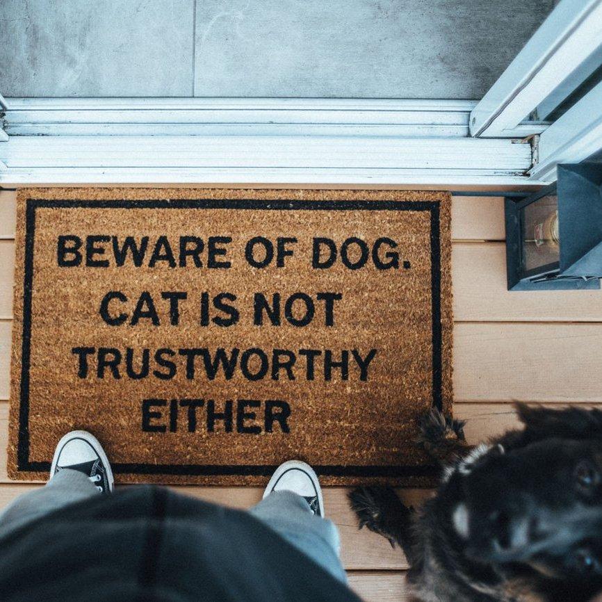 Beware of Dog. Cat is Not Trustworthy Either Doormat