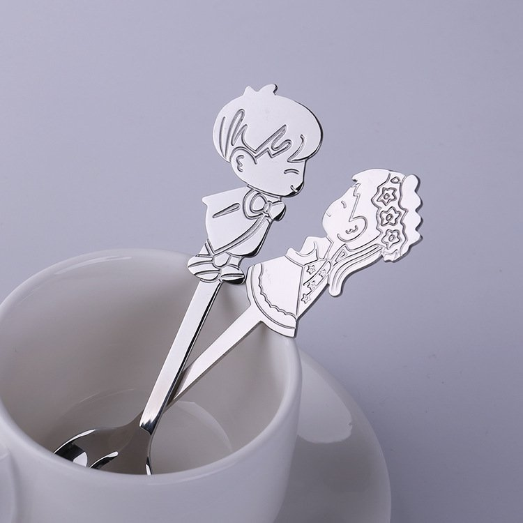 Cute Couple Stainless Steel Coffee Spoons
