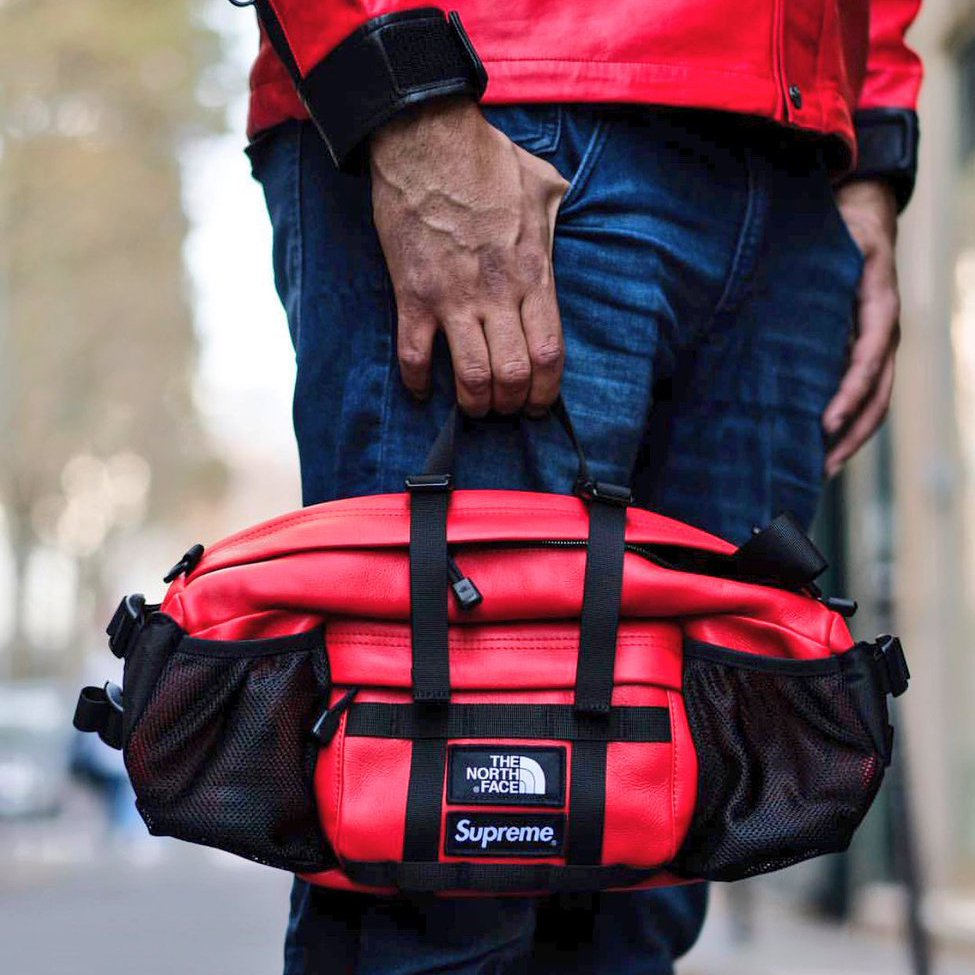 Supreme The North Face Leather Mountain Waist Bag Red