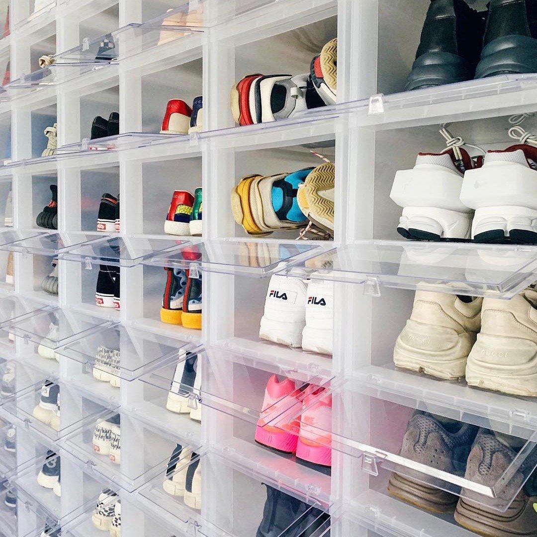 Drop-Front Shoe Storage Boxes