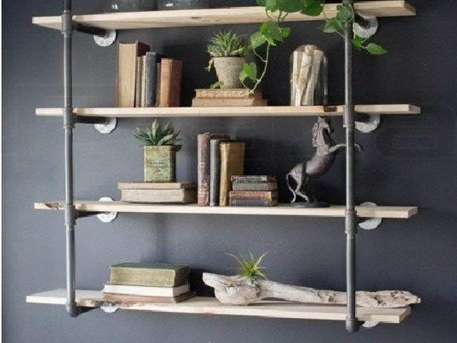Industrial Retro Wall Mount Iron Pipe Shelf Hung Bracket Diy Storage Shelving Bookshelf