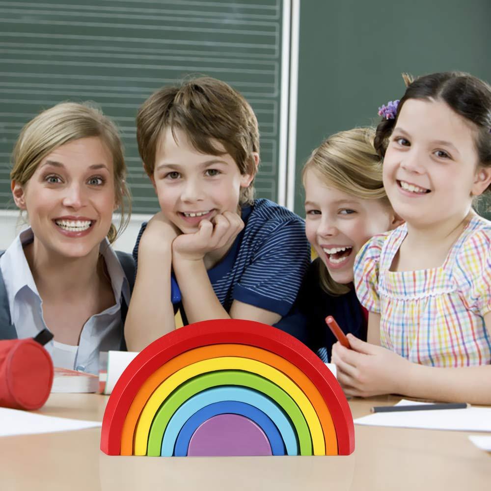 Wooden Rainbow Building Blocks » Petagadget