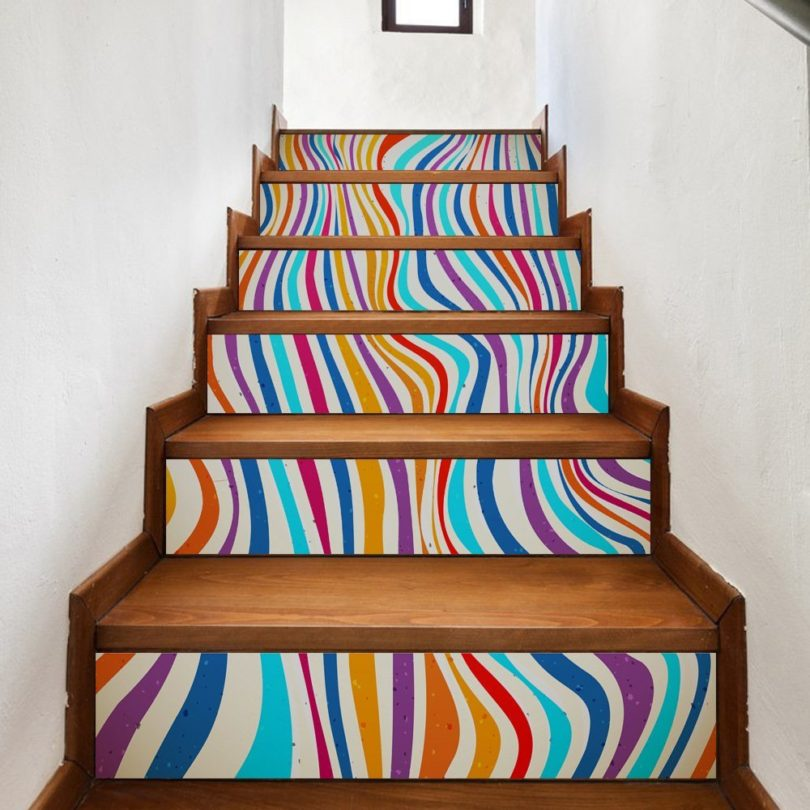 LHKAVE 6Pcs 3D Stairs Stickers