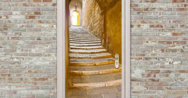 European Stone Steps Stone Stairs in a remote alley in the picturesque medieval town door sticker