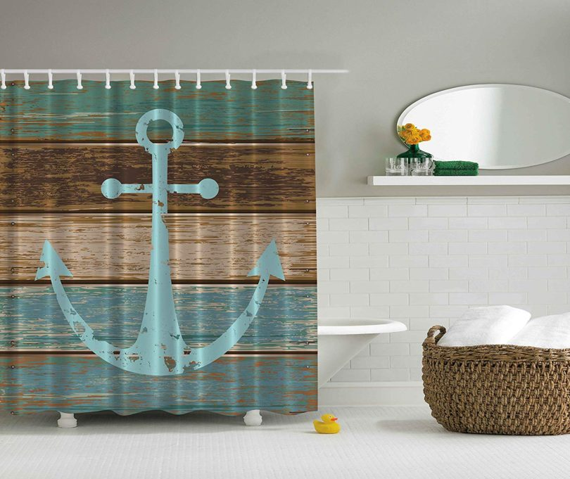 Ambesonne Nautical Anchor Rustic Wood – Shower Curtain