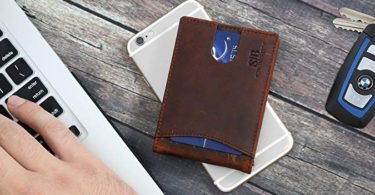 SERMAN BRANDS RFID Blocking Slim Bifold Genuine Leather Minimalist Front Pocket Wallet