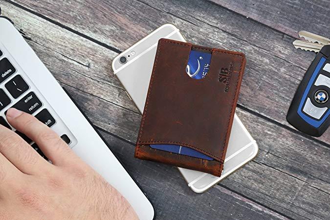 SERMAN BRANDS RFID Blocking Slim Bifold Genuine Leather Minimalist Front Pocket Wallet
