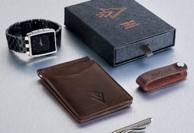 Men's Leather RFID Money Clip Slim Wallet with Leather Keychain
