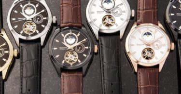Heritor Automatic Sebastian Semi-Skeleton Dial Leather-Band Date Watch