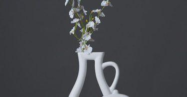 White Ceramic Outline Vases