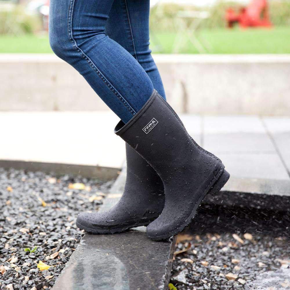 EMMA Mid Calf Matte Black Women's Rain Boots