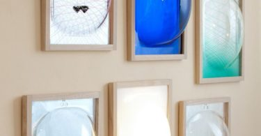 Bubble Showcase Mirror with Glass Shelf and Ash Frame