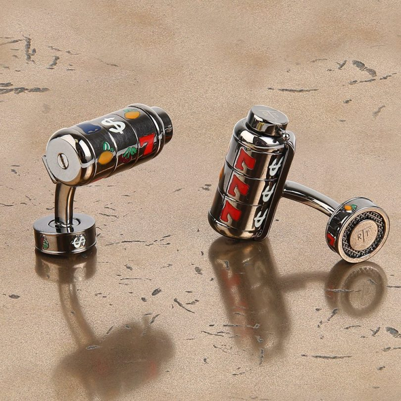 Gunmetal Spinning Slot Machine Cufflinks