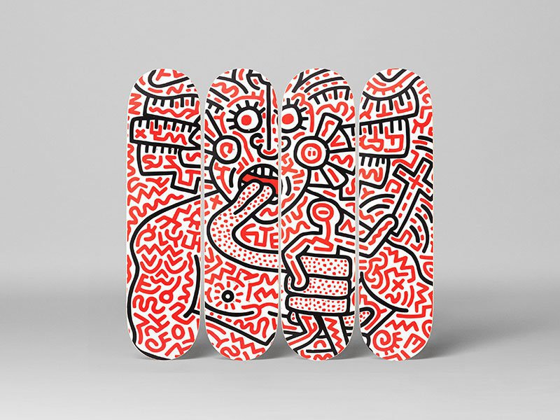 Keith Haring Medusa Skateboard Decks Set of 4
